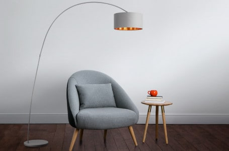 7 models of minimalist lamps over a coffee table